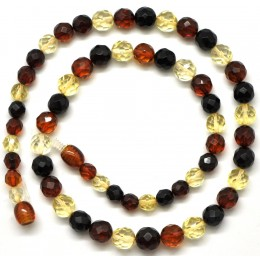 Round beads faceted multicolor  Baltic amber necklace